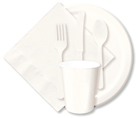 White Cups, Plates, Napkins, Tableware