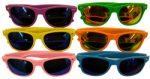 Mirror Lens Neon Frame Wayfarer Sunglasses