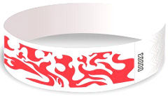 Wristbands - white with red flames
