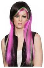 Emo Wig Long Pink Green and Black hair