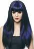 Ladies long-hair, electric blue wig