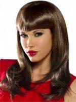 Wig Straight Brown Brunette Hair w/ Bangs