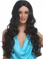 Sultry Wig Black Long Wavy off-Center Part