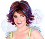 Auburn Wig Streaked with Blue and Purple
