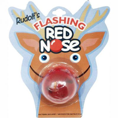 Flashing red rudolph reindeer nose