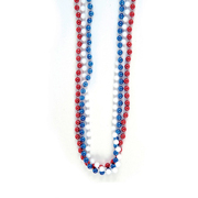 Metallic Patriotic Bead Necklaces Red, White and Blue Dozen