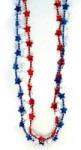 Red/White/Blue Star Bead Necklaces - 12 Pieces