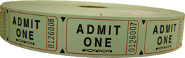 Single Roll Admission Tickets - Available in 6 colors
