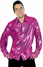 Sequin Disco Shirt - Bright Pink