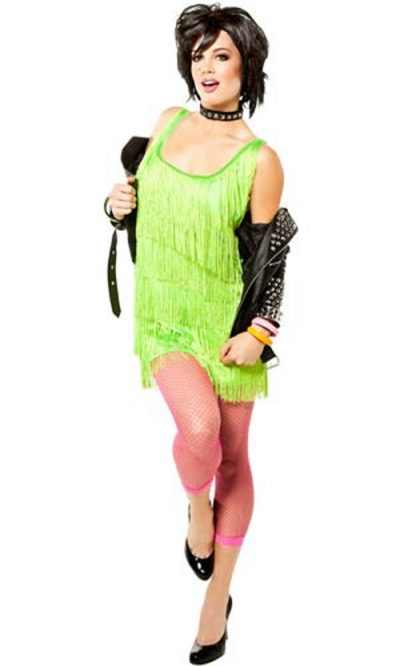 Lime green fringe flapper
