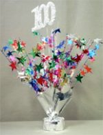 Multi Colored 100th Birthday Balloon Weight Centerpiece