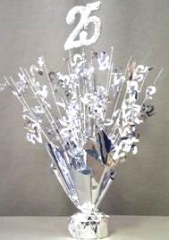 """Silver """"25"""" Balloon Centerpiece"""