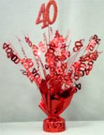"Red ""40"" Balloon Centerpiece"