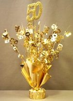 "Gold ""50"" Balloon Centerpiece"