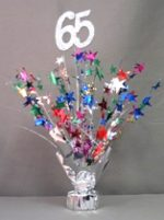 "Multi Colored ""65"" Balloon Centerpiece"