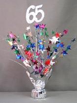 Multi Colored 65th Birthday Balloon Centerpiece