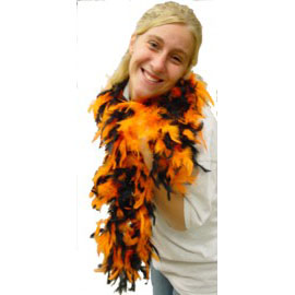 6 Foot Feather Boa - Orange & Black