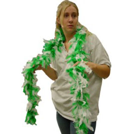 6 Foot Feather Boa - Green & White
