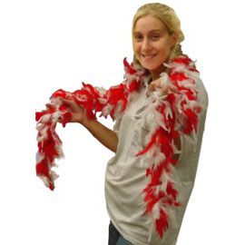 6 Foot Feather Boa - Red & White