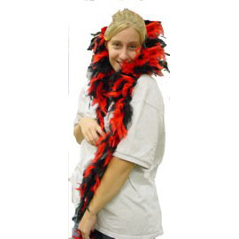 6 Foot Feather Boa - Red & Black