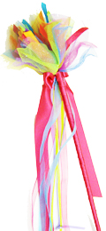 Rainbow Fabric Wand with Ribbons