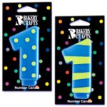 Number 1 Candle in Stripes and Dots