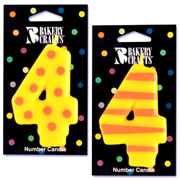 Number 4 Candle in Stripes and Dots