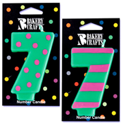 Number 7 Candle in Stripes and Dots