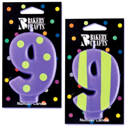 Number 9 Candle in Stripes and Dots