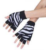 Fingerless Zebra Gloves