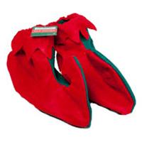G91507 red green felt elf shoes