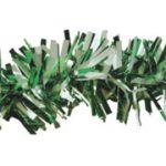 """Green/White Metallic Tinsel Garland, 4"""" x 15'"""