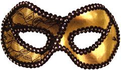 Gold/Black trim Metallic Half Mask