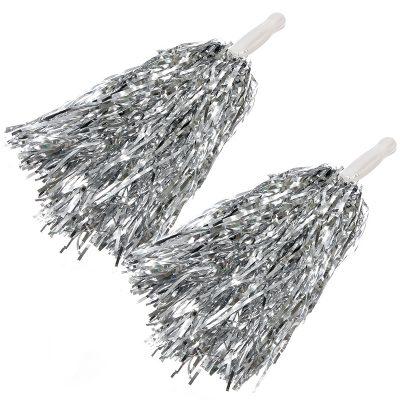 Silver metallic shaker poms