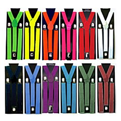 "Solid Color 1"" Width Suspenders"