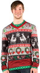 Faux Ugly Sweater T-Shirt Frisky Deer