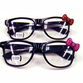 black costume eyeglass with bow