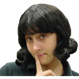 Joan Wig - Black Flip Costume Wig