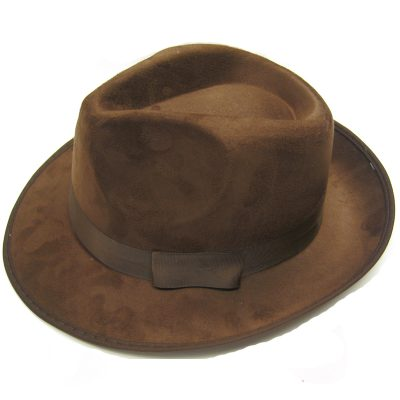 Brown Imitation Suede Fedora