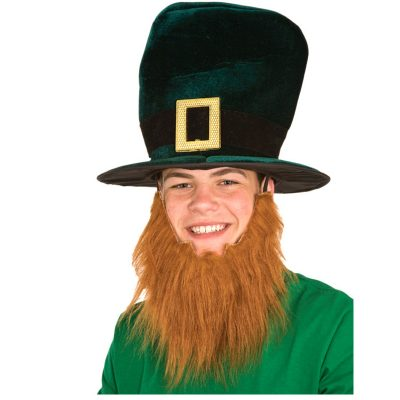 Leprechaun Top Hat with Attached Red Beard