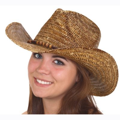 Western Hat with Wood Bead Band