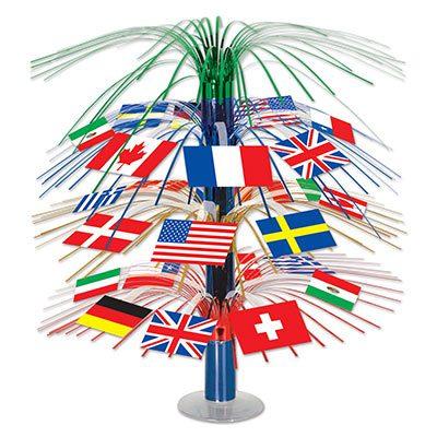 Mixed International Flags Cascade Centerpiece