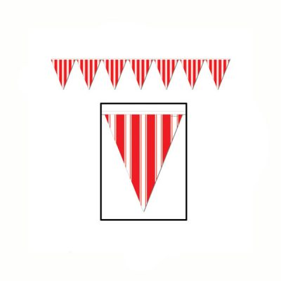 Red White Striped Pennant Banner