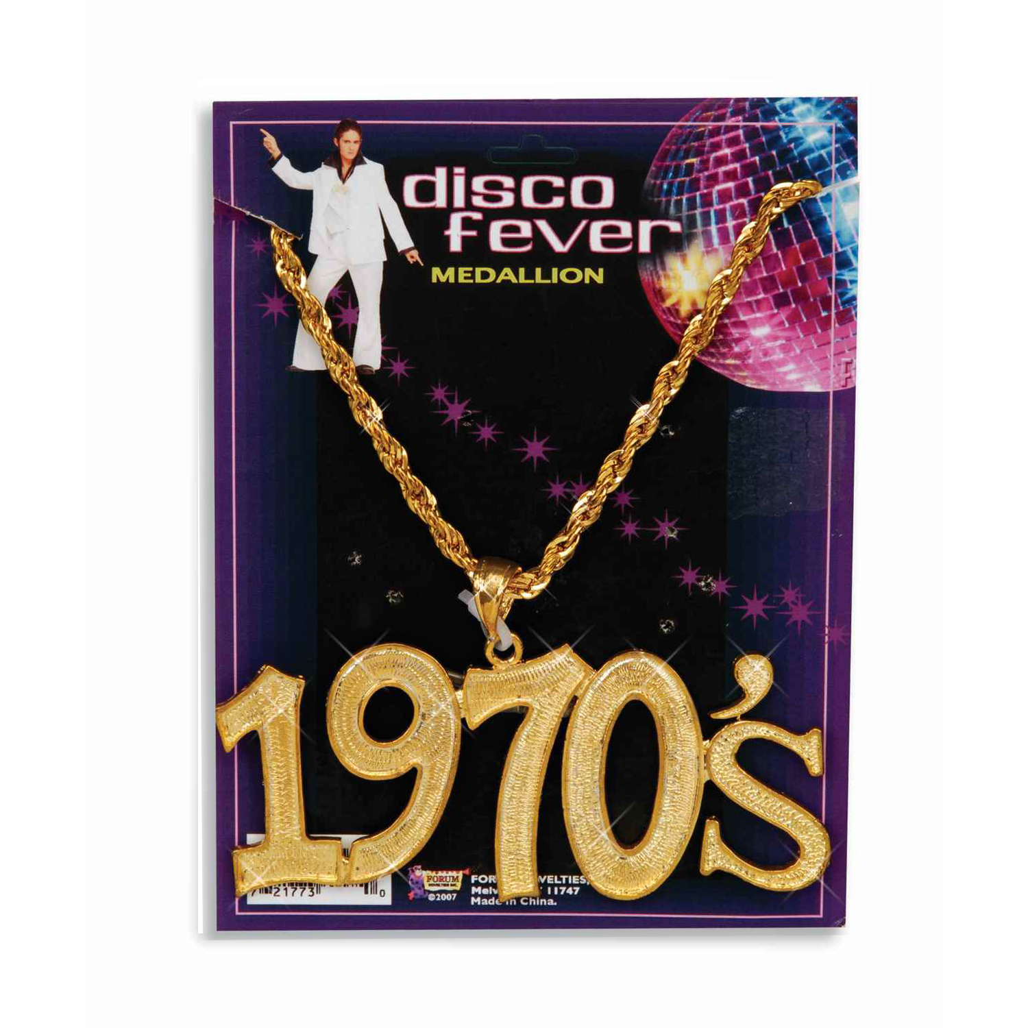 Disco Fever 1970s Gold Necklace