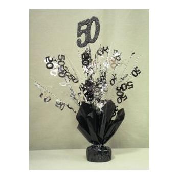 50 Balloon Centerpiece Black and Silver '