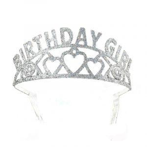 Birthday Girl Tiara Silver Glitter