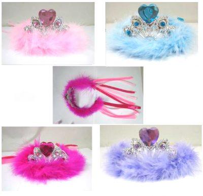 Tiara w/ heart stone marabou & ribbon streamers