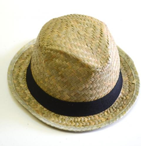 Natural woven straw fedora w/ fabric band