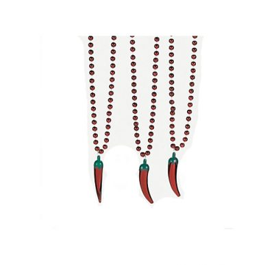 Metallic Round Bead Necklace with Chili Pepper