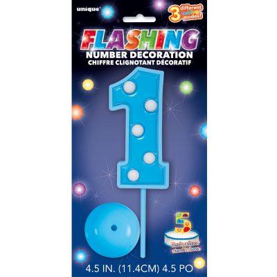 flashing blue number one